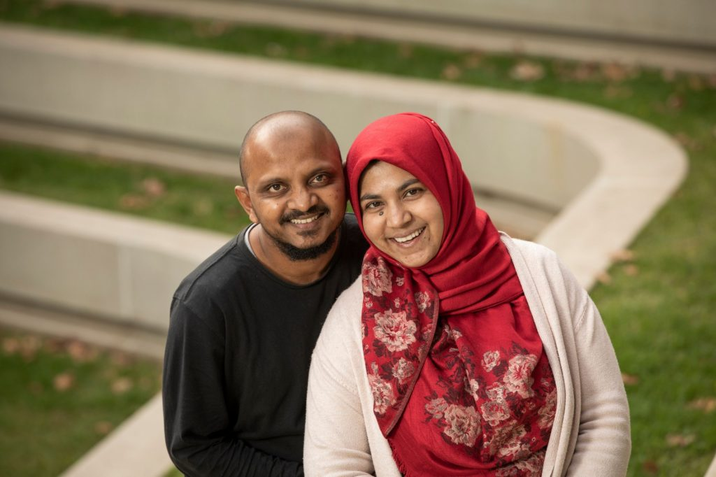 Usha Moosa was accompanied by her husband, while she was completing her education at Flinders University